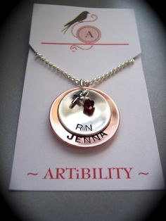 Copper and Sterling Silver Nurse RN CNA MD graduate by ARTIBILITY, $39.00