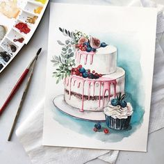 New cake illustration pencil ideas - - You are in the right place about round Cake Design Here we offer you the most beautiful pictures about the Cake Design fond Cake Illustration, Food Illustrations, Watercolor Illustration, Cake Drawing, Food Drawing, Cake Sketch, Indian Cake, Cake Logo Design, Sweet Drawings