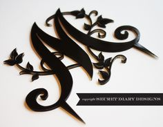 Cake topper made from black perspex Wedding Stationery, Wedding Invitations, Wedding Letters, Acrylic Sheets, Beautiful Cakes, Laser Cutting, Cake Toppers, Fondant, Monogram