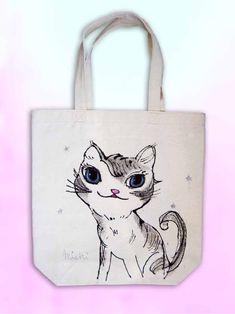 星のラメが描かれているグレイの毛のニャンコ My Works, Reusable Tote Bags, Cats, Products, Gatos, Cat, Kitty, Gadget, Kitty Cats