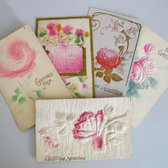 Five Embossed Rose Postcards