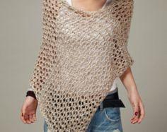 Punto de la parte superior poco algodón poncho trigo suéter bufanda-listo para enviar