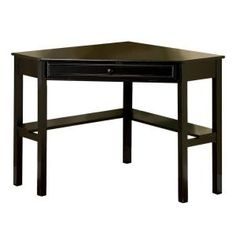 Erona Modern Corner Computer Desk Black - Furniture of America, Galaxy Black Home Office Space, Home Office Desks, Home Office Furniture, Black Corner Desk, Black Desk, Small Corner, Corner Storage, Desk Storage, Storage Ideas