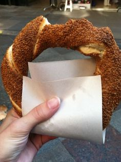 Simit is a fast food bread sold in the streets of Turkey by vendors. It is often eaten as a breakfast food with jam or yogurt.
