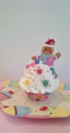 Gingerbread Boy Fake Cupcake Christmas Photo Prop with Candy, Sugar Plum Dreams Holiday Decorations, Secret Santa Gifts, Gingerbread Decor by FakeCupcakeCreations on Etsy