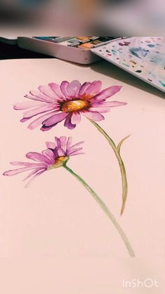 Watercolor Paintings For Beginners, Watercolor Video, Watercolor Drawing, Abstract Watercolor, Watercolor Flowers Tutorial, Watercolour Flowers, Flower Video, Pencil Sketching, Pencil Drawings