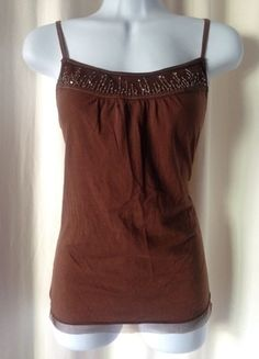 36661435516 Brown and Gold Embellished Tank Top