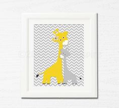 Yellow and grey giraffe Nursery Art,  nursery room decor,  8x10, kids room decor, nursery wall decor, chevron, baby giraffe. $14.95, via Etsy.