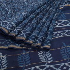 Ode to Earth Indigo Blue Bagru Printed Chanderi Cotton Saree 10007879 - AVISHYA.COM