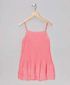 Take a look at this Coral Pleated Dress - Toddler & Girls by Designer Kidz on #zulily today!