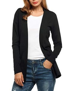 Zeagoo Women Open Front Casual Knit Long Sleeve Cardigan Sweater Black L >>> Check out this great product. (This is an affiliate link)