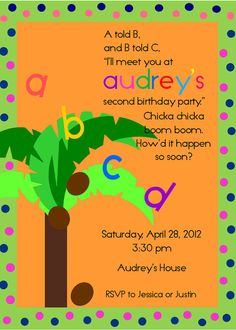 Chicka Chicka Boom Boom Printable Invitation by chocolatesundae, Help me Tracy! Book Birthday Parties, Baby Birthday, Happy Birthday Banners, Birthday Ideas, Alphabet Birthday, Alphabet Party, Abc Party, Chicka Chicka Boom Boom, Printable Invitations