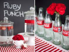 Coca Cola bottles for a red party? Red Bridal Showers, White Bridal Shower, Retro Party, Vintage Party, Vintage Circus, Snack Bar, Garrafa Coca Cola, Slate Wedding, Red Wedding
