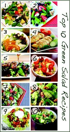 Top 10 DELICIOUS Green Salad Recipes from HealthyMomsKitche...:   1.Spinach, 2.Grilled Chicken Berry, 3.Pear , 4.Coconut Chicken, 5.Ginger Steak, 6.BLT, 7.Mexican Chopped, 8.Cranberry Avocado, 9.Taco, 10.Summer Salad