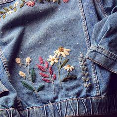 denim embroidered jacket coming soon🌿🌸🌱🌷 . Denim Jacket Embroidery, Embroidered Denim Jacket, Embroidery On Clothes, Shirt Embroidery, Embroidered Clothes, Jean Bordado, Jean Diy, Diy Broderie, Flower Embroidery Designs