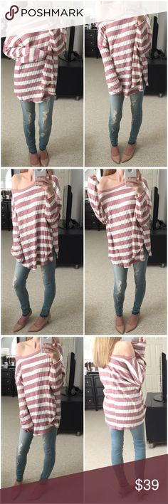 "Ivory and Rose Striped Ribbed LS OBSESSED! 😍Ivory and rose ribbed striped long sleeve top. Rounded bottom hem. Wide rounded neck and bust line. Super stretchy and comfy! Love the fit so much! ❤️ Adorable for any season! Made very well. Previously sold in Ivory and Mocha! Modeling small. 48% rayon 48% polyester 4% spandex. Made in USA.  Measurements as follows: Bust: (S) 25"" (M) 26"" (L) 27"" Length: (S) 27"" (M) 27.5"" (L) 28"" *Bundle 2+ items for discount. Tops Tees - Long Sleeve"