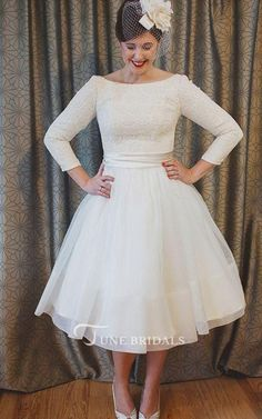 1fc193d145a33 Plus Size Tea Length Lace and Organza Wedding Dresses with 3-4 Long Sleeves  Short