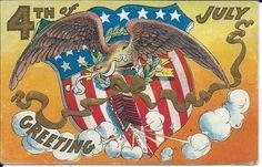 Vintage Gold Embossed 4th of July Patriotic Postcard - Eagle & American Shield