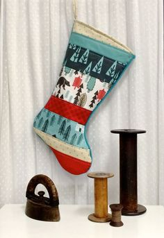 Quilted Christmas Stocking - Patchwork, Kids, Rustic, Bear, Fox, Squirrel, Winter, Woodland, Black, White, Red, Teal, Aqua, Tan, Trees by FernLeslieBaby on Etsy https://www.etsy.com/listing/253563089/quilted-christmas-stocking-patchwork