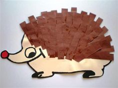 Autumn theme: cutting and pasting strips: FINE MOTOR – Knippen Forest Creatures, Forest Animals, Diy Crafts To Do, Crafts For Kids, Hedgehog Craft, Hedgehog Drawing, Bored Kids, Animal Crafts, Autumn Theme