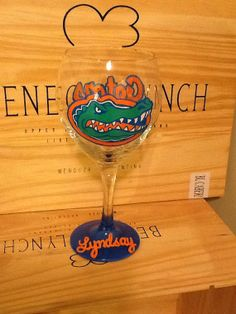 Personalized Hand Painted Florida Gators Wine Glass on Etsy, $24.95