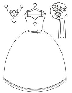 Bridesmaid Dress and Accessories - Free Printable Coloring Pages