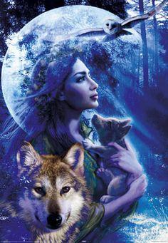 Wolf girl spirit of wolves art