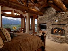 log home bedrooms | Log Home - Bedroom                        ~~~ This is My Bedrrom~~~Yeppp!