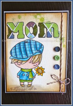 """Mother's Day card made using The Greeting Farm's """"Hello Ian"""" image watercoloured using Distress Markers. Background stamped with plaid Unity Stamp. Letters cut using Cricut Birthday Bash cartridge."""