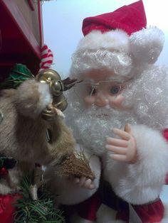 Santas Best Santa Feeding Reindeer in Stable Animated Lighted Motion Display