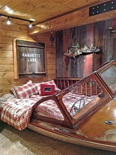 No longer seaworthy, lapstrake runabout - Turned into a bed for their guest room.