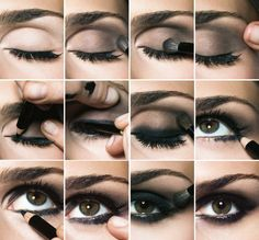 Maquillage des yeux charbonneux, smokey eyes, marrons (yeux) , noir... diy