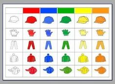 clothing chart - use as game to practise vetements, colours and reading charts Math Games, Activities For Kids, Color Worksheets For Preschool, Brain Teasers For Kids, Kindergarten Smorgasboard, Reading Charts, Matrix, Folder Games, Teaching Aids