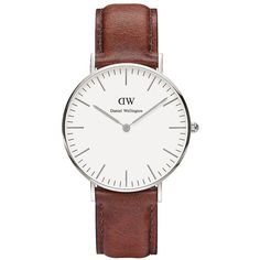 Daniel Wellington Classic St. Mawes Leather Strap Watch (3 090 ZAR) ❤ liked on Polyvore featuring jewelry, watches, brown, leather strap watches, thin watches, stainless steel wrist watch, daniel wellington watches and polish jewelry