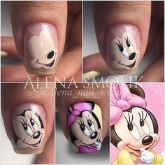Trendy Nails Disney Designs Art Tutorials in 2020 Nail Art Disney, Disney Acrylic Nails, Nail Art Dessin, Nail Shapes Square, Mickey Mouse Nails, Nail Drawing, Animal Nail Art, Nails For Kids, Unicorn Nails