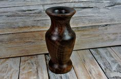 Walnut Vase #vase #turnedoutgood #woodturning #wood pickslayswoodworking.com Woodturning, Handmade Wooden, Vase, Wood Turning, Turning, Vases, Jars