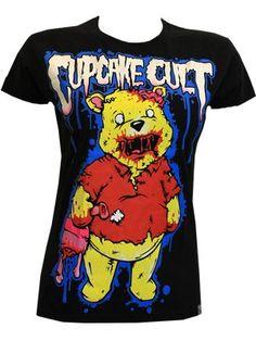 Cupcake Cult Zombie Bear Ladies Black T-Shirt
