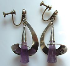 Mexico Sterling Silver Amethyst Earrings Vintage Eagle #3 Swirl & Drop Dangles