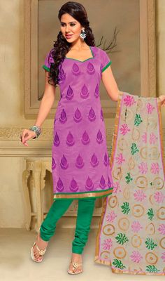 Lovely Embroidered Chanderi Silk Churidar Suit Look like a diva wearing this lovely pinkish lavender Chanderi silk churidar suit featuring embordered decorative motifs all over.  #ChuridarSalwarSuits  #PartyWearSalwarKameez