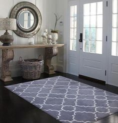 Grey / White Abstract Geometric Rectangle Shag Area Rug - 5 x 7 (White/Charcoal - 5 x Gray White Area Rug, Blue Area Rugs, Room Interior, Interior Design Living Room, Old Fashioned Christmas Decorations, Small Space Interior Design, Foyer Decorating, Decorating Ideas, Modern Carpet