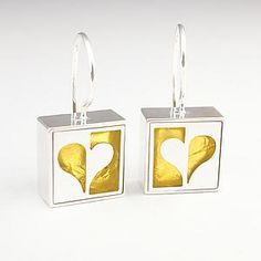 Half Heart Earrings by Victoria Varga: Silver & Gold Earrings available at www.artfulhome.com