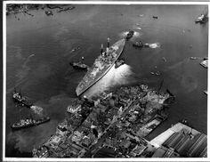 Battleship HMS Vanguard, the Royal Navy's largest, fastest and last battleship, in Hms Vanguard, Portsmouth Dockyard, Naval History, Navy Ships, Coast Guard, Royal Navy, Battleship, Background Images, Wallpaper Backgrounds