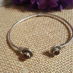 Garnet stone cuff bracelet Sterling silver overlay.  Garnet colored stone. Jewelry Bracelets