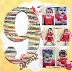 9 MONTHS scrapbook layout by Paige Evans for Stamp & Scrapbook Expo