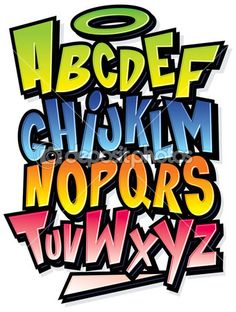 Lettering Fonts Discover Funky colorful cartoon font type Vector alphabet - Millions of Creative Stock Photos Vectors Videos and Music Files For Your Inspiration and Projects. Graffiti Lettering Alphabet, Tattoo Lettering Fonts, Graffiti Font, Graffiti Tagging, Graffiti Drawing, Graffiti Styles, Lettering Styles, Graffiti Wall, Typography