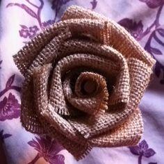 Burlap flower! Tutorial: http://www.labellebride.com/2011/03/04/diy-burlap-flower-rad-and-rustic/