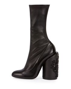 Givenchy Leather Embroidered-Heel Show Boot