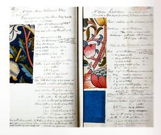 William Morris Notebook. Pages from Merton Abbey Dye Book, 1882-91