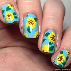 xxxxx Wide Nails, The Art Of Nails, Sunflower Nails, Seasonal Nails, Cute Nail Art Designs, Nail Blog, Manicure E Pedicure, Neon Nails, Glitter Nail Art
