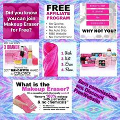 Who likes FREE?  Well NOW You can join Makeup Eraser For FREE!     ***Makeup Eraser is free to join!   ***50% product DISCOUNT!   ***FREE Website ***Earn Commissions on Online sales!  You can also earn up to 40% PLUS BONUSES.   Contact me for more info.